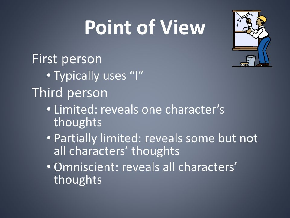 Point of View First person Third person Typically uses I