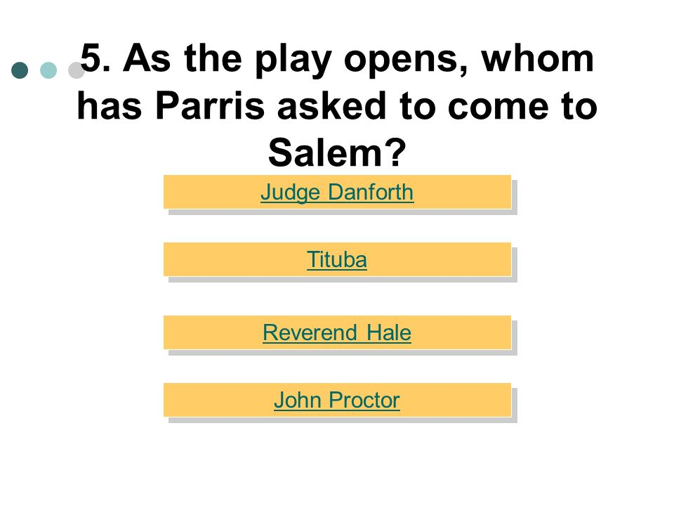 5. As the play opens, whom has Parris asked to come to Salem