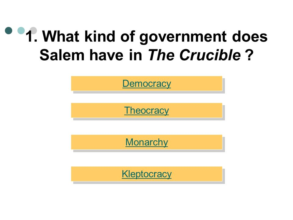 1. What kind of government does Salem have in The Crucible