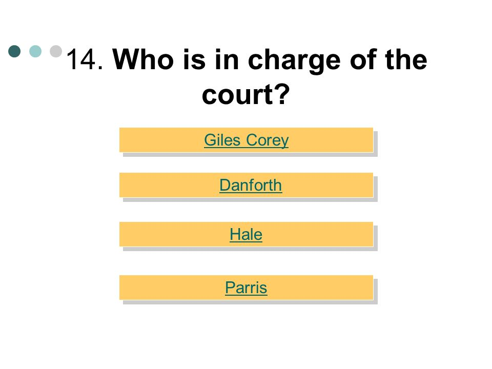 14. Who is in charge of the court