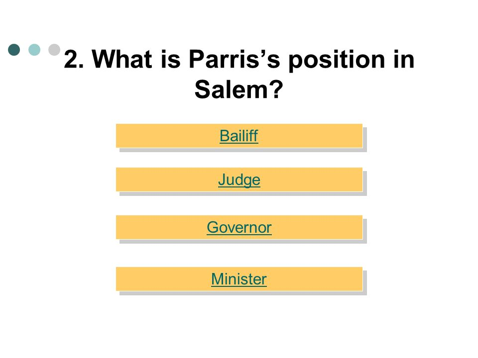2. What is Parris's position in Salem