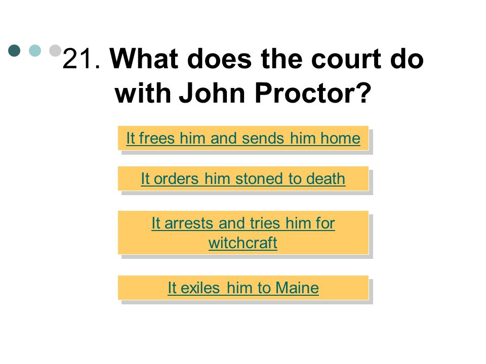 21. What does the court do with John Proctor