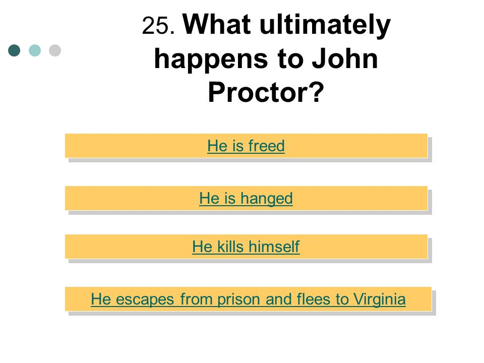 25. What ultimately happens to John Proctor