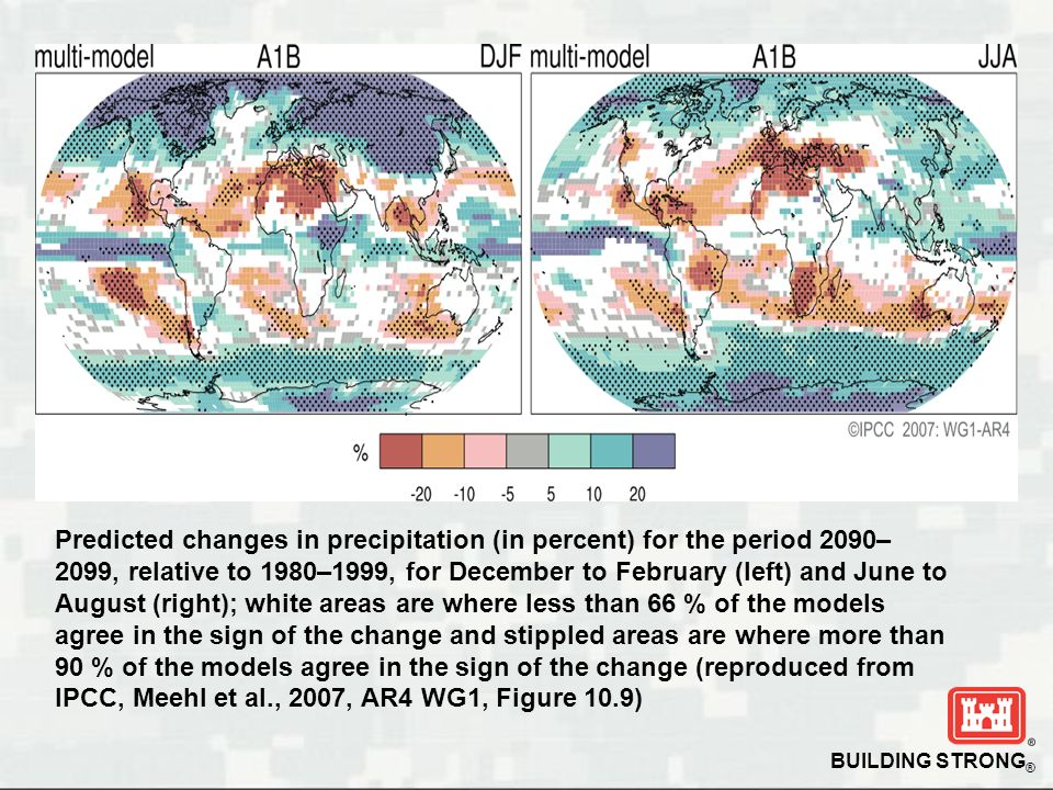 Predicted changes in precipitation (in percent) for the period 2090–2099, relative to 1980–1999, for December to February (left) and June to August (right); white areas are where less than 66 % of the models agree in the sign of the change and stippled areas are where more than 90 % of the models agree in the sign of the change (reproduced from IPCC, Meehl et al., 2007, AR4 WG1, Figure 10.9)