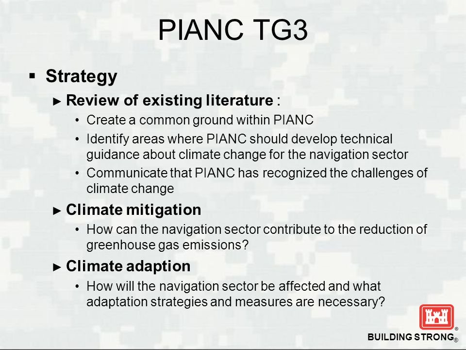 PIANC TG3 Strategy Review of existing literature : Climate mitigation