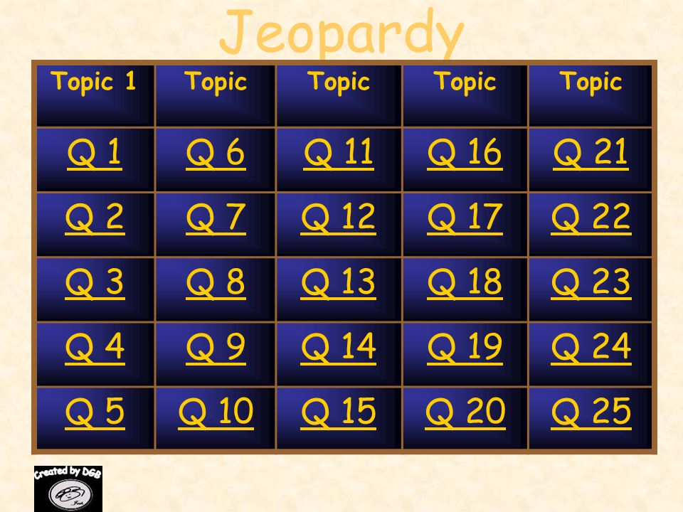 Jeopardy Q 1 Q 6 Q 11 Q 16 Q 21 Q 2 Q 7 Q 12 Q 17 Q 22 Q 3 Q 8 Q 13