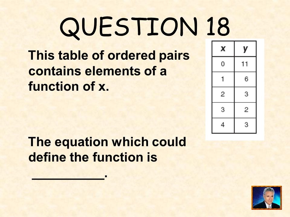 QUESTION 18 This table of ordered pairs contains elements of a function of x.