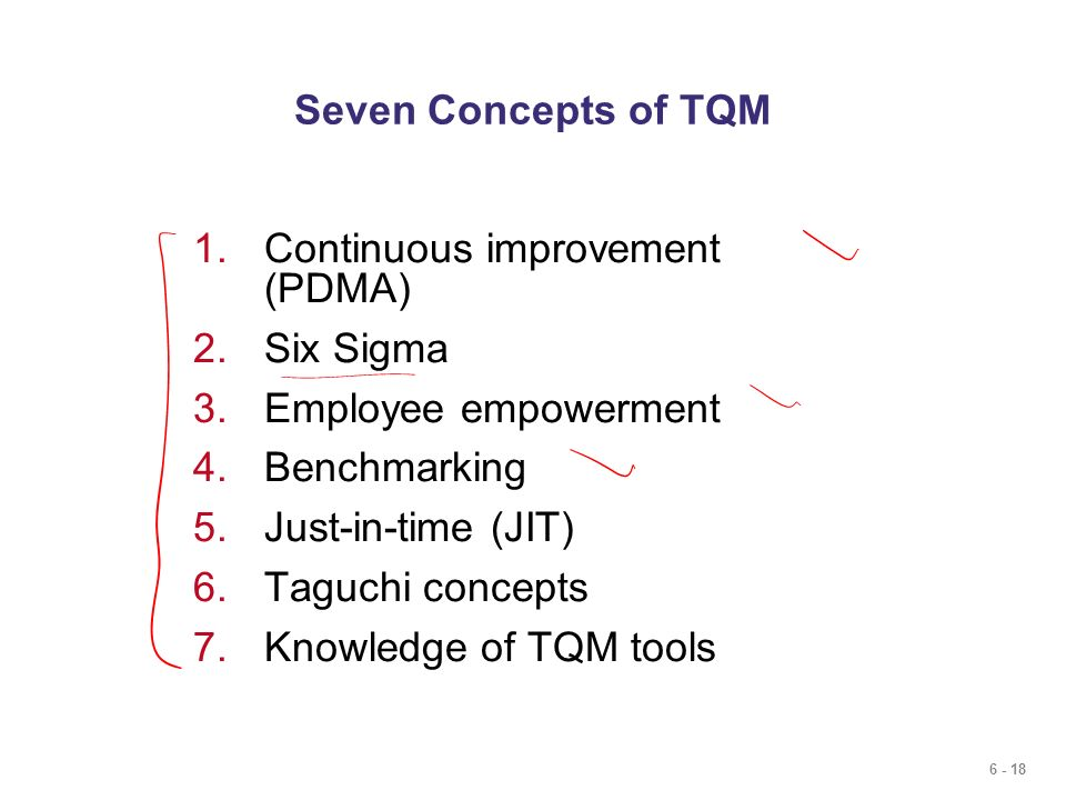 Seven Concepts of TQM Continuous improvement (PDMA) Six Sigma. Employee empowerment. Benchmarking.