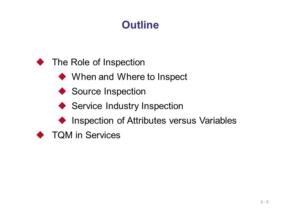Outline The Role of Inspection When and Where to Inspect