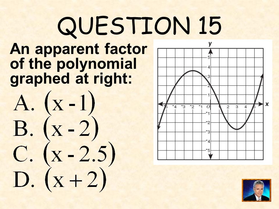 QUESTION 15 An apparent factor of the polynomial graphed at right: