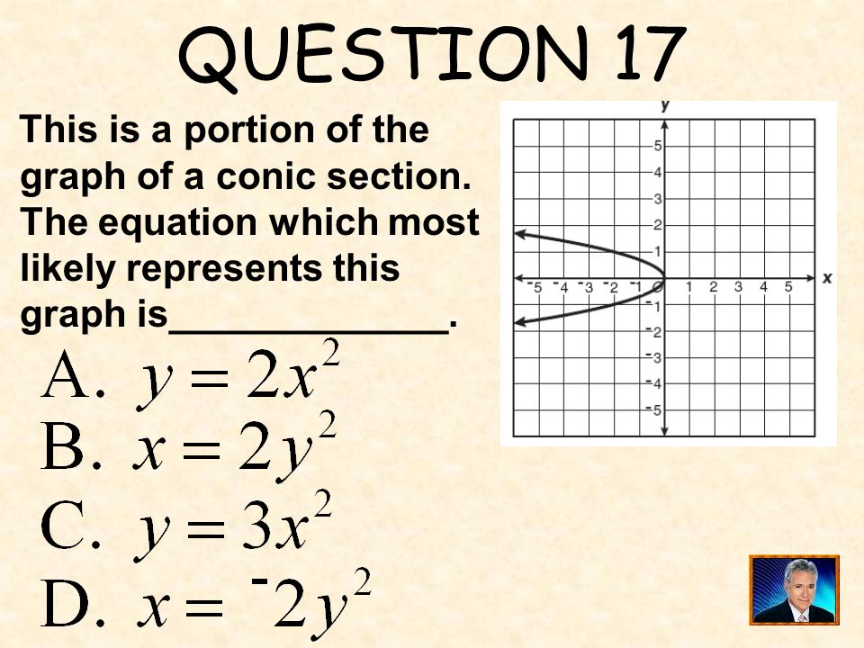 QUESTION 17 This is a portion of the graph of a conic section.