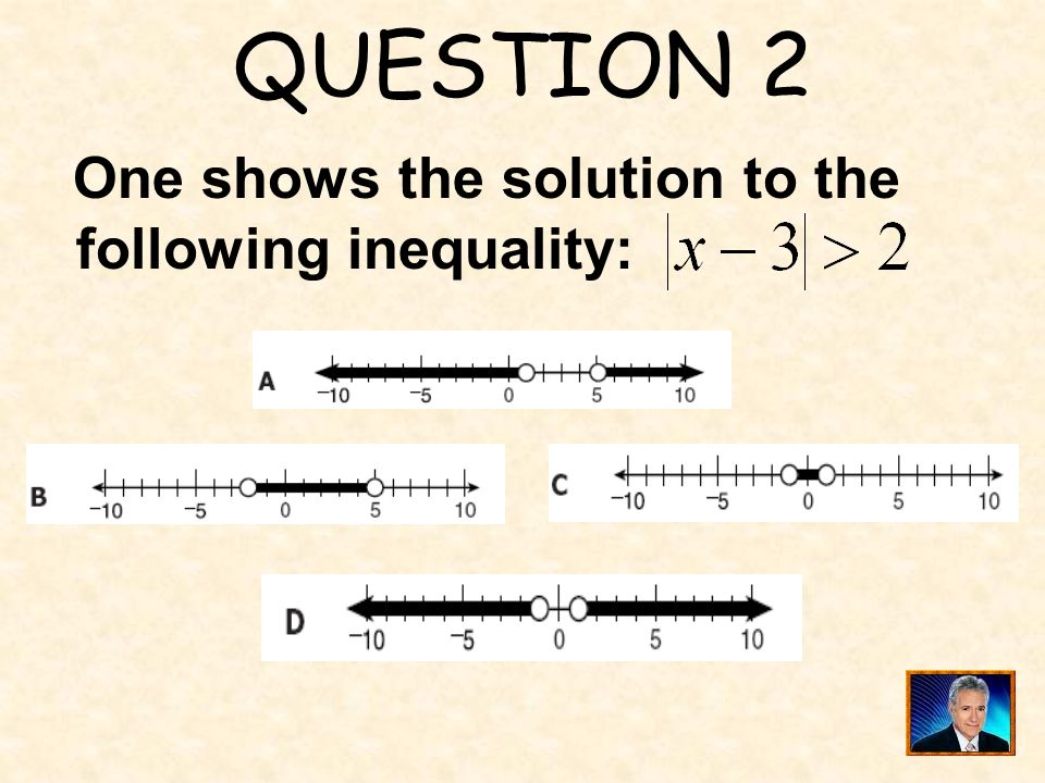 QUESTION 2 One shows the solution to the following inequality: