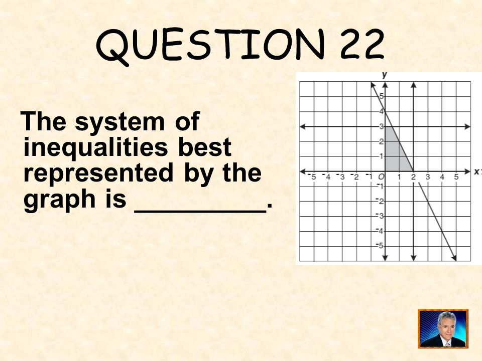 QUESTION 22 The system of inequalities best represented by the graph is _________.