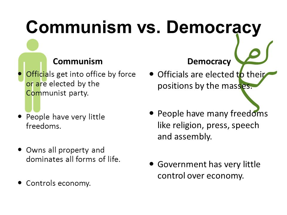 communism vs democracy Communism versus democracy ∗ communism- a form of government based on a command economic system citizens do not own private property or the means of productio.