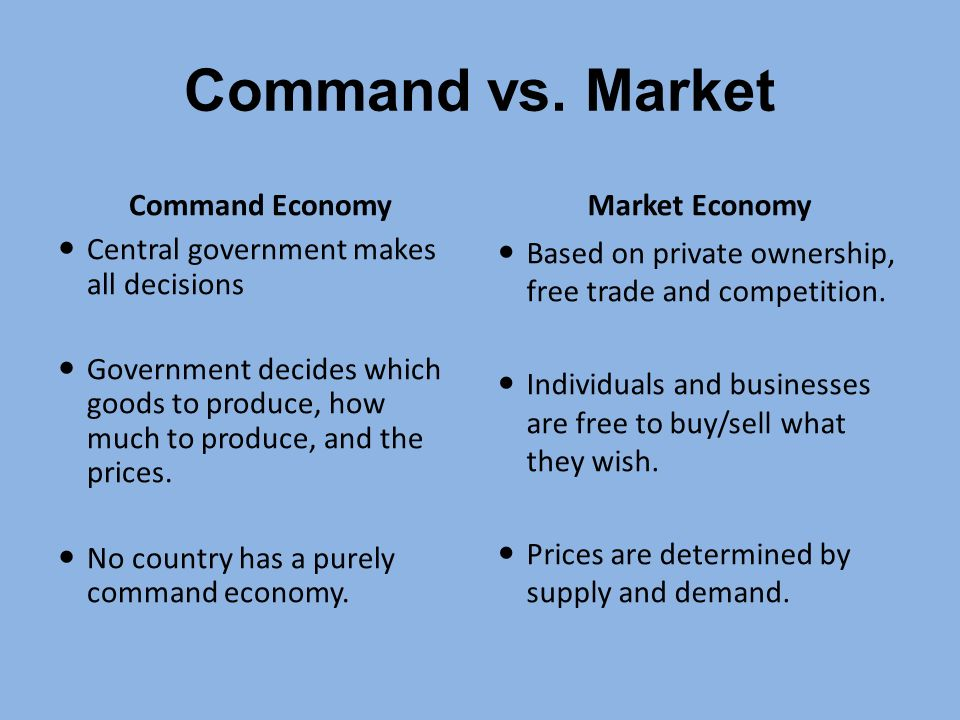 market vs command economy essay Free essay: in my economics class, we are discussing traditional, command, and market economies some say, well, it would be much better if we switched.