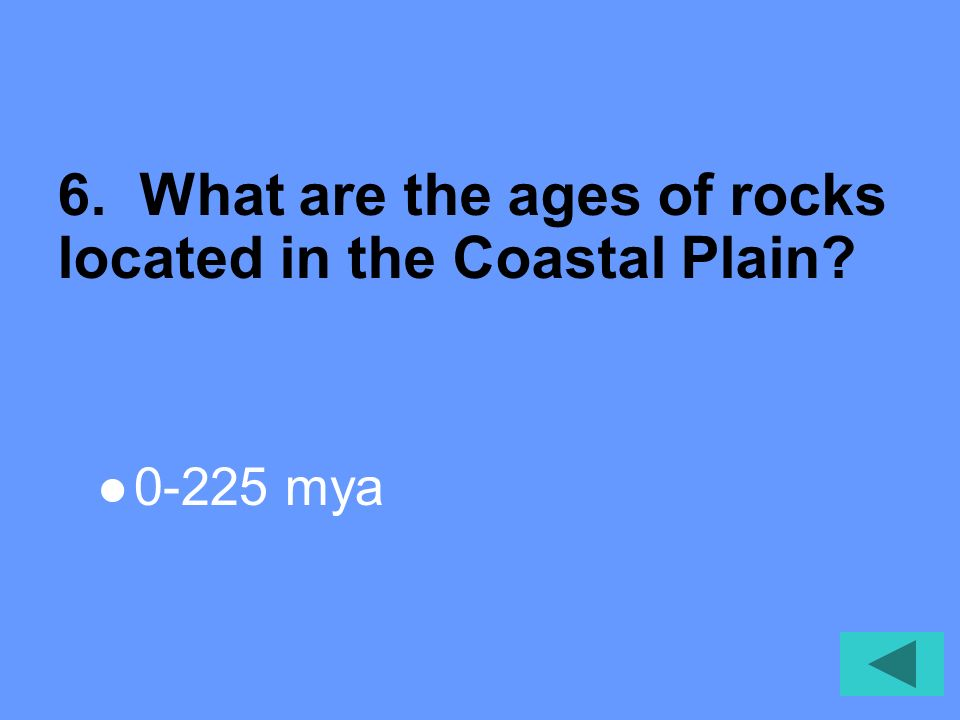 6. What are the ages of rocks located in the Coastal Plain