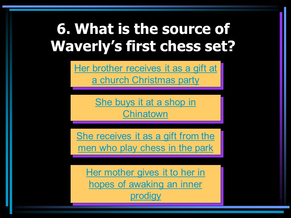 6. What is the source of Waverly's first chess set