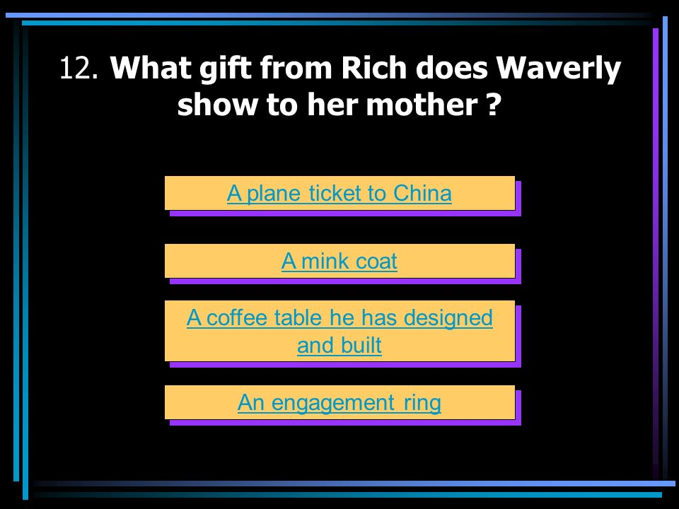 12. What gift from Rich does Waverly show to her mother
