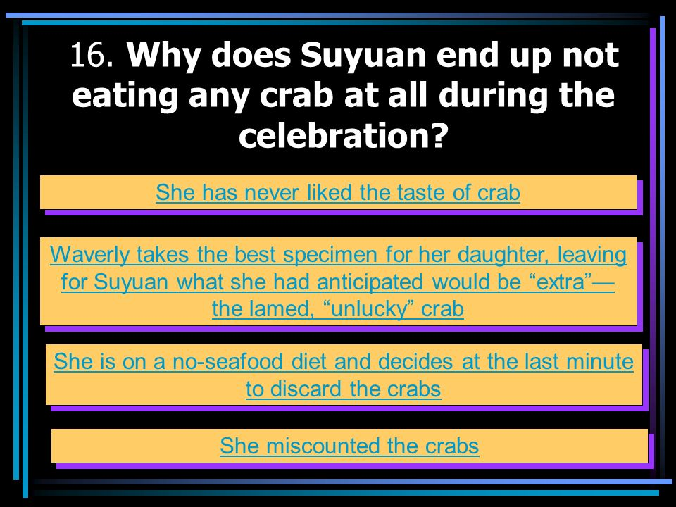 16. Why does Suyuan end up not eating any crab at all during the celebration