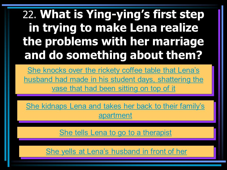 22. What is Ying-ying's first step in trying to make Lena realize the problems with her marriage and do something about them
