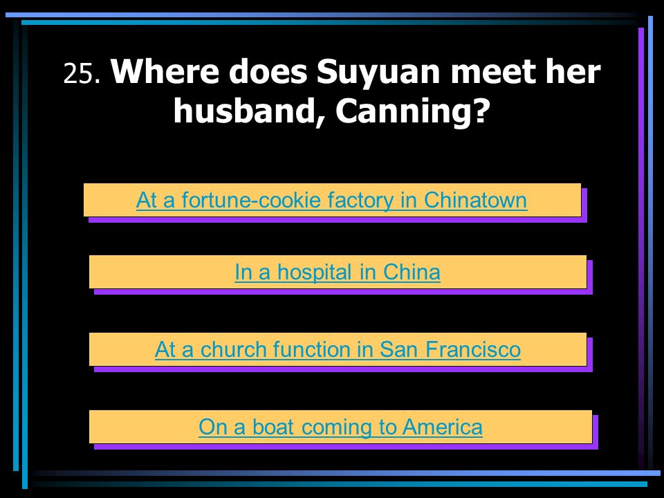 25. Where does Suyuan meet her husband, Canning