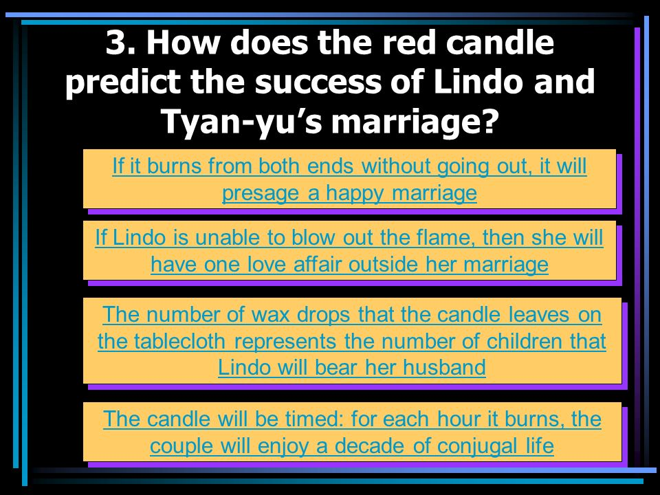 3. How does the red candle predict the success of Lindo and Tyan-yu's marriage