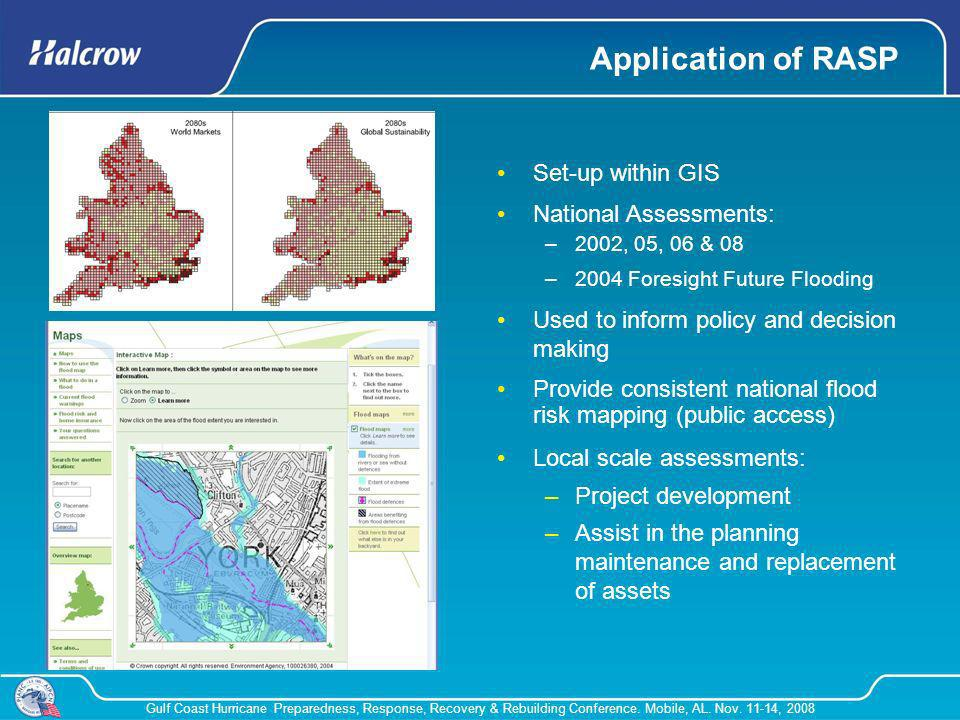 Application of RASP Set-up within GIS National Assessments:
