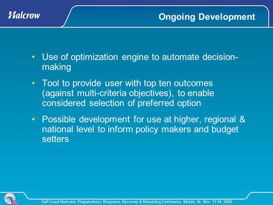 Ongoing Development Use of optimization engine to automate decision-making.