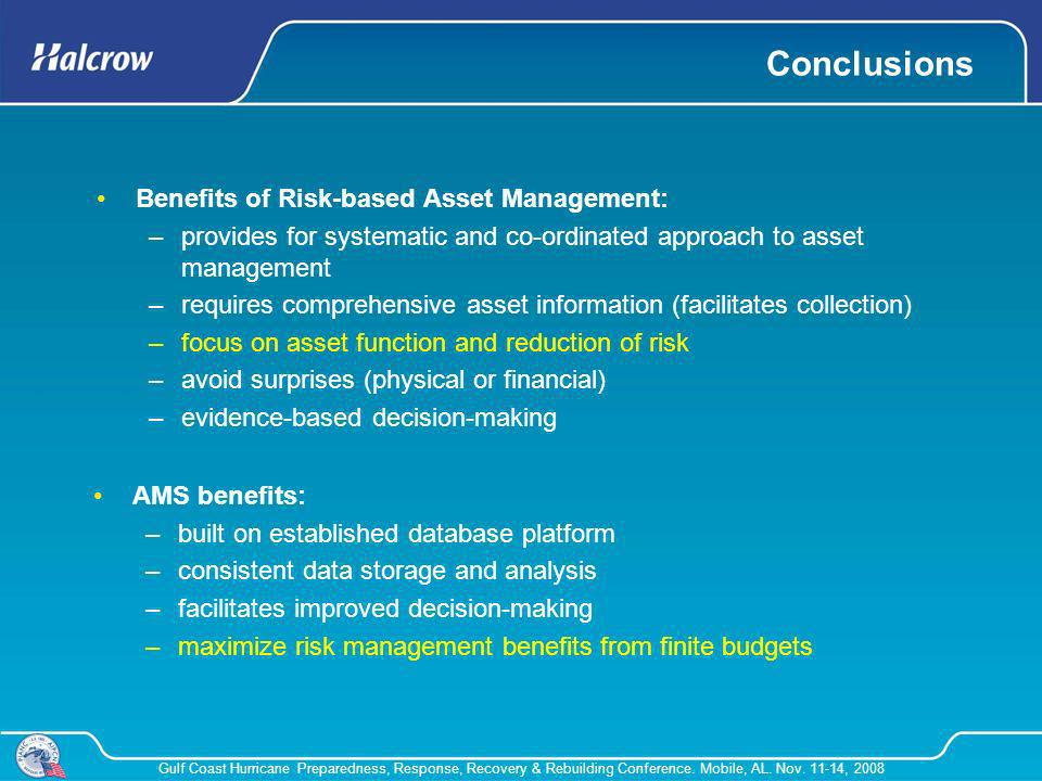 Conclusions Benefits of Risk-based Asset Management:
