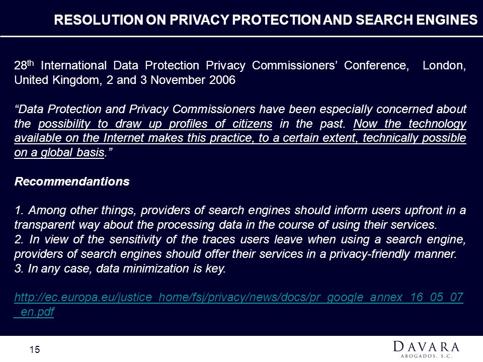 RESOLUTION ON PRIVACY PROTECTION AND SEARCH ENGINES