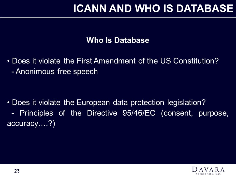 ICANN AND WHO IS DATABASE