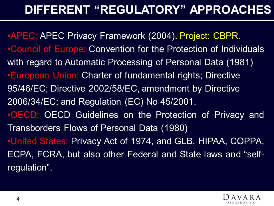 DIFFERENT REGULATORY APPROACHES
