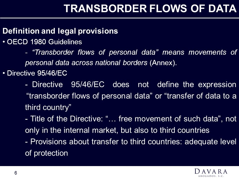 TRANSBORDER FLOWS OF DATA