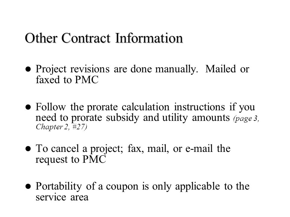Other Contract Information