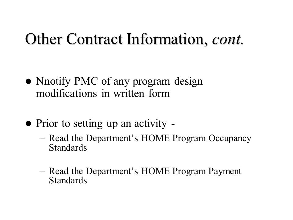 Other Contract Information, cont.