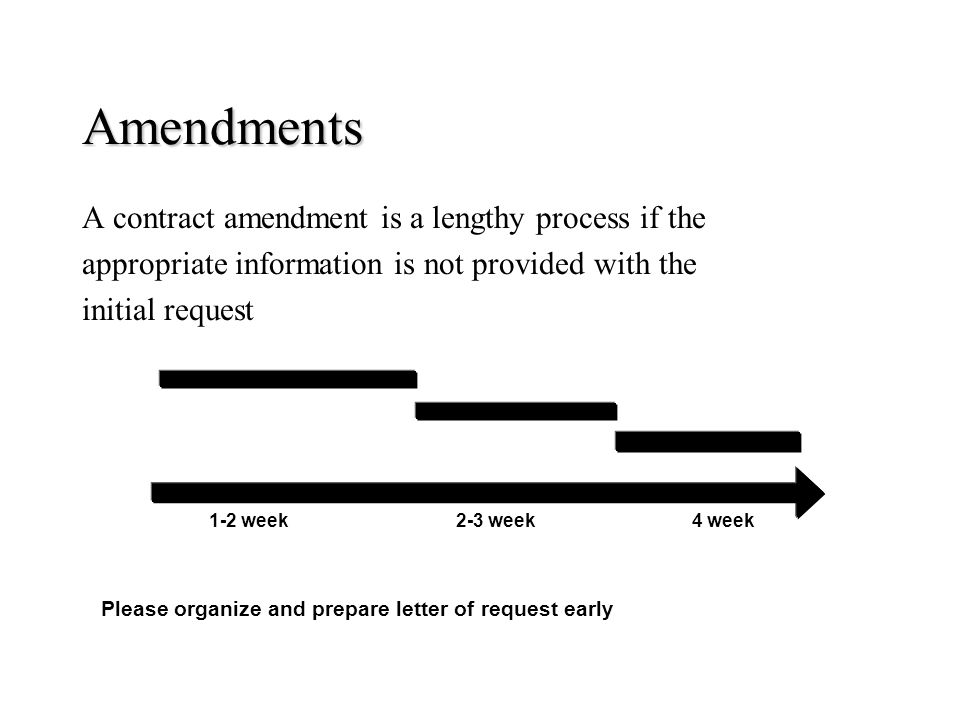 Amendments A contract amendment is a lengthy process if the