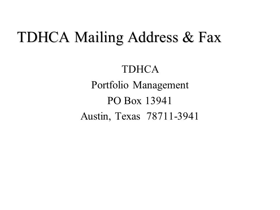 TDHCA Mailing Address & Fax