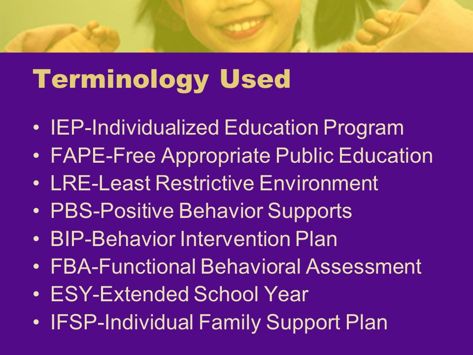 Terminology Used IEP-Individualized Education Program