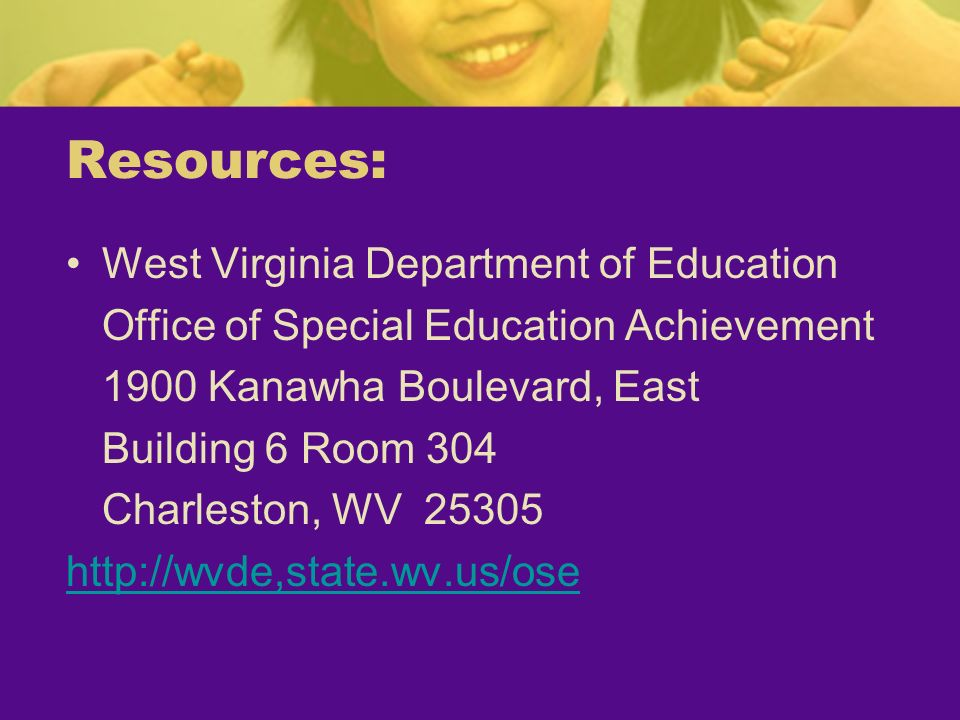 Resources: West Virginia Department of Education