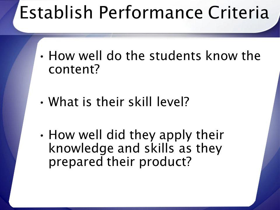 Establish Performance Criteria