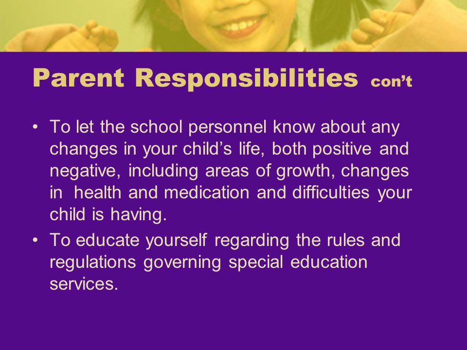 Parent Responsibilities con't