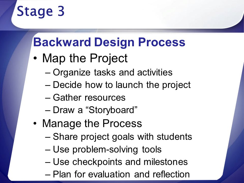 Stage 3 Backward Design Process Map the Project Manage the Process