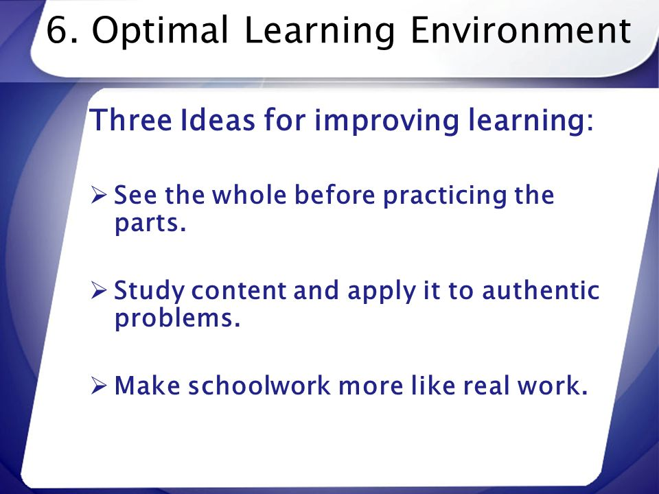 6. Optimal Learning Environment