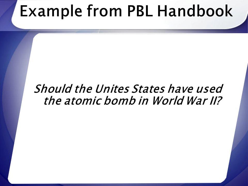 Example from PBL Handbook
