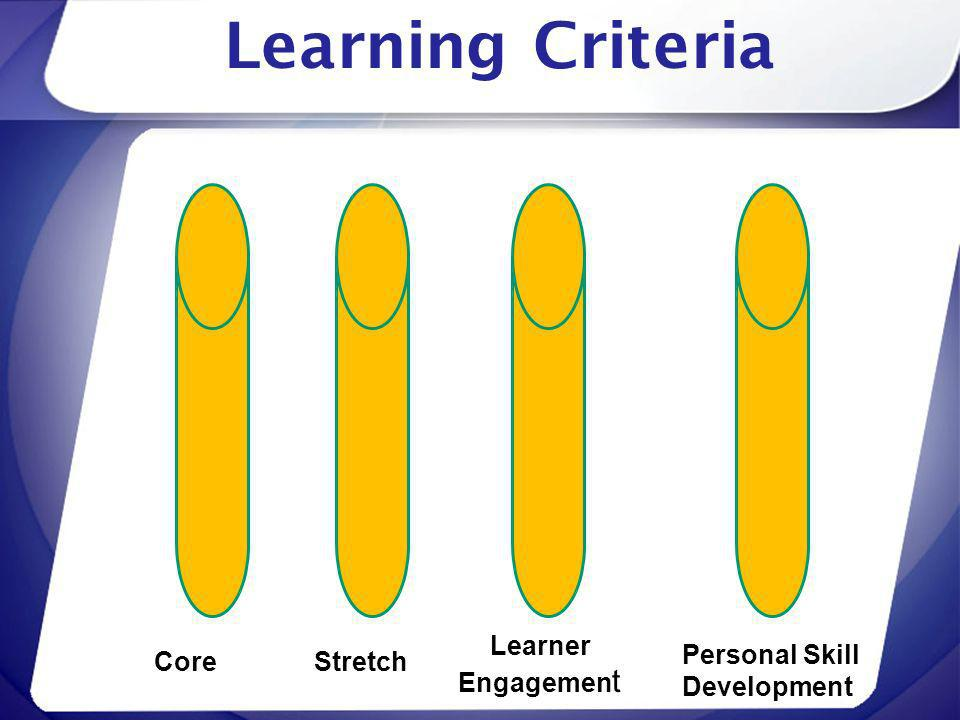 Learning Criteria Learner Engagement Personal Skill Development Core