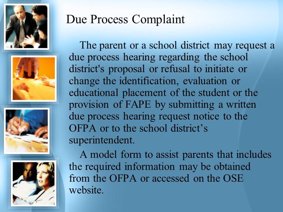 Due Process Complaint
