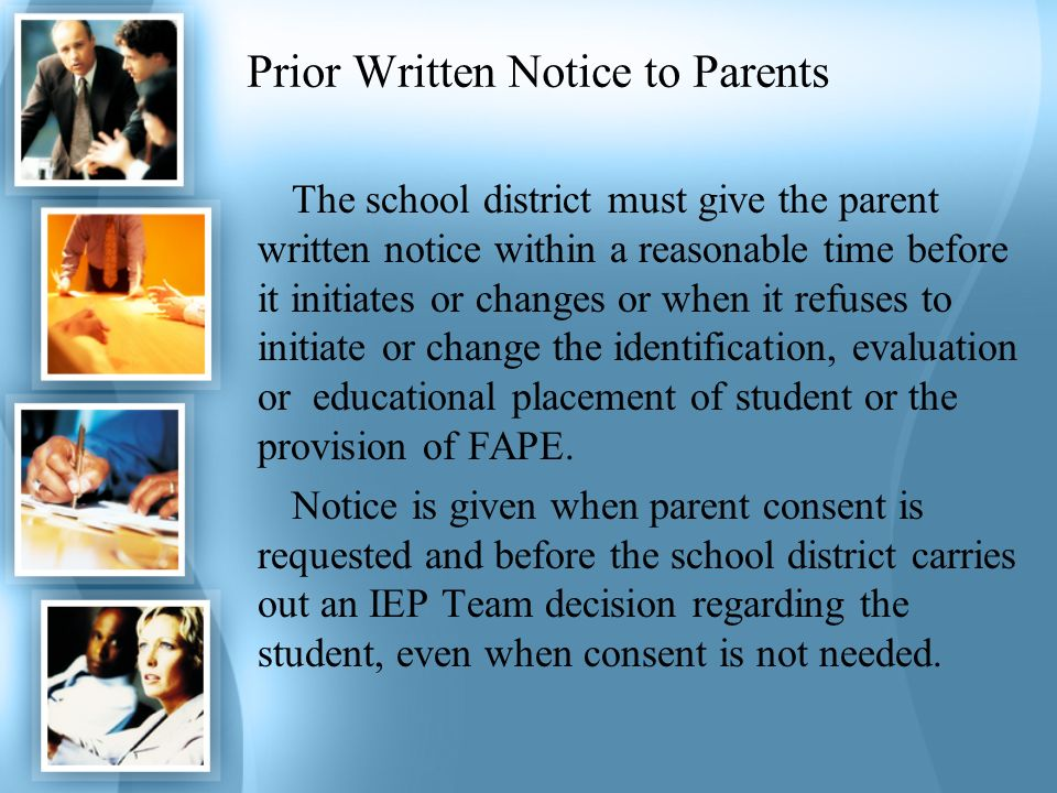 Prior Written Notice to Parents