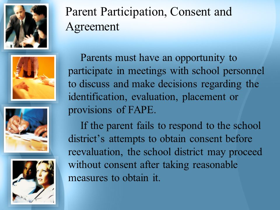 Parent Participation, Consent and Agreement