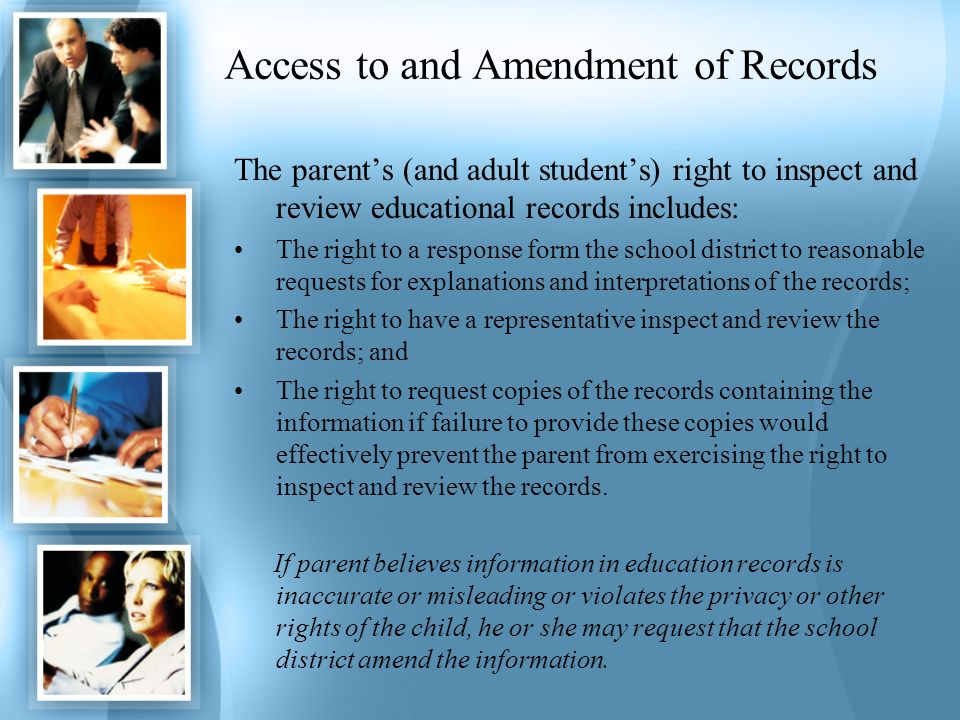 Access to and Amendment of Records
