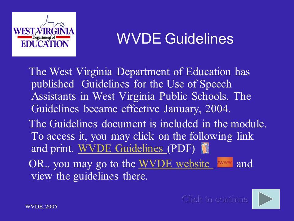 WVDE Guidelines